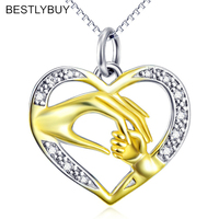Genuine 925 Sterling Silver Mother and Child Hand In Hand Gold Color Pendant Necklaces Female Necklace Choker Jewelry Gift