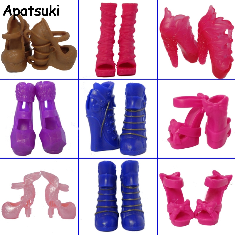5pairs/lot Fashion Design Shoes High Heel Shoes For Monster High Dolls Sandals Boots For 1/6 Monster Dolls 500pairs lot wholesale high quality high heel shoes for 30cm dolls mixed styles sandals slippers 10pairs pack doll shoes pack