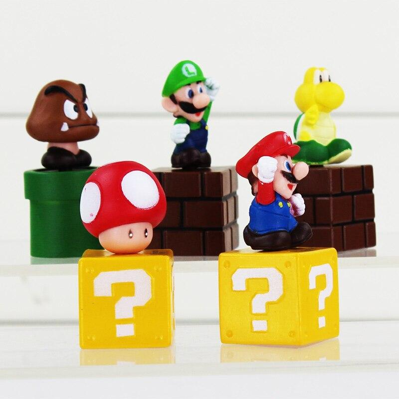 """5pcs/Lot Super Mario Bros mini figures Toy bundle 5cm 2"""" Mario Goomba Luigi Koopa Troopa Mushroom 1"""