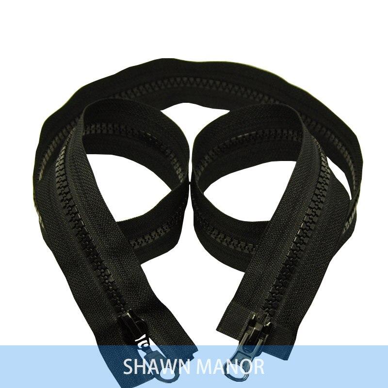 Alipress 5#90 см двойные ползунки смолы застежки-молнии для шитья спальный мешок для палаток Пальто Аксессуары 3 шт - Цвет: black