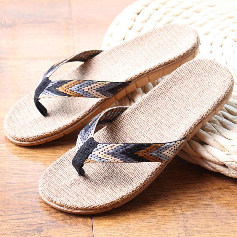 a0d0fa5ede1f4b ... New Summer Men Linen Flip Flop Striped Ribbon Sandals Flat EVA Non-Slip  Linen Slides