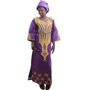Image 3 - MD Nữ Châu Phi Áo Khăn Quàng Châu Phi Bazin Riche ĐẦM THÊU Đầu Bọc Nữ ĐầM Maxi Châu Phi In Áo Kanga