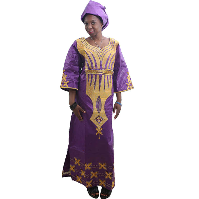 MD נשים אפריקאיות שמלות צעיף אפריקאי bazin riche שמלה עם רקמת ראש לעטוף נשים מקסי שמלת הדפס אפריקאי שמלות קנגה