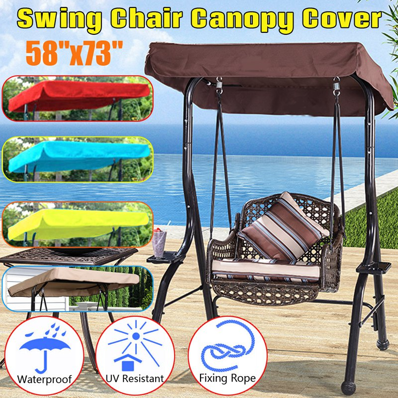 SGODDE 1Pcs 148x185cm Polyester Replacement Outdoor Swing Chair Canopy For Garden Swing Hammock 3 Seater Sizes Spare Cover