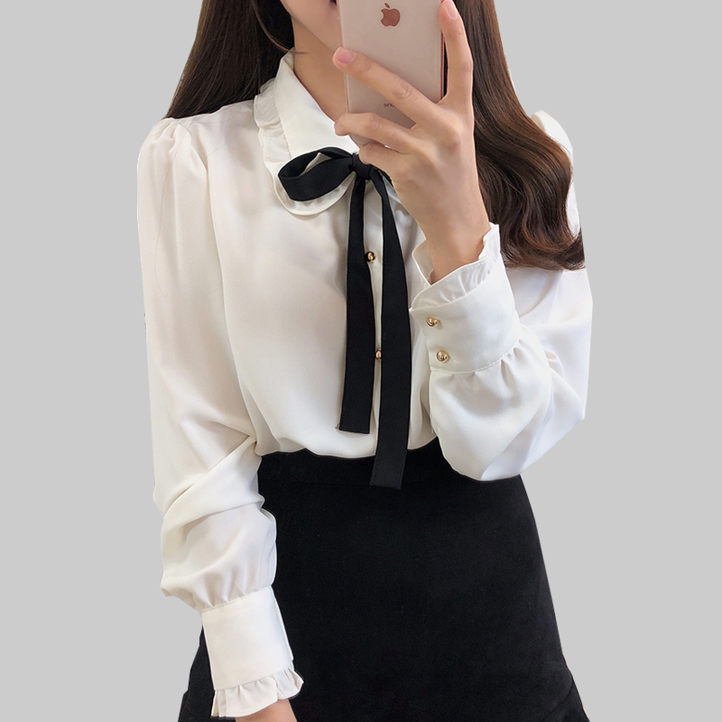 Bow Shirts Woman Long Sleeve Button Chiffon Blouse Women 2019 New Embroidery Blouses Butterfly Sleeve Casual White Shirt Femme