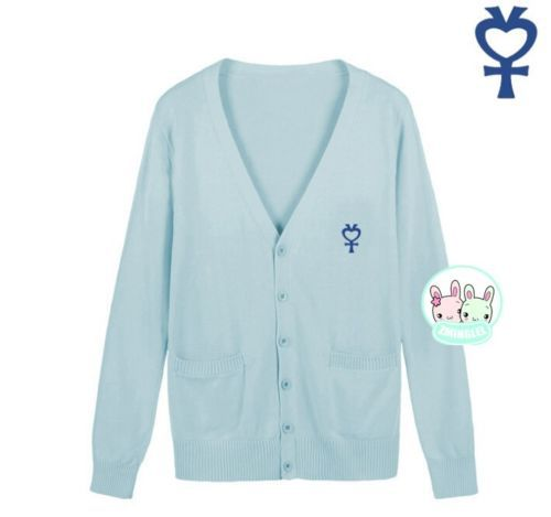 Милая женская японская Униформа-матроска, символ Луны, свитер на пуговицах, кардиган с длинными рукавами, зимний толстый - Цвет: Light Blue