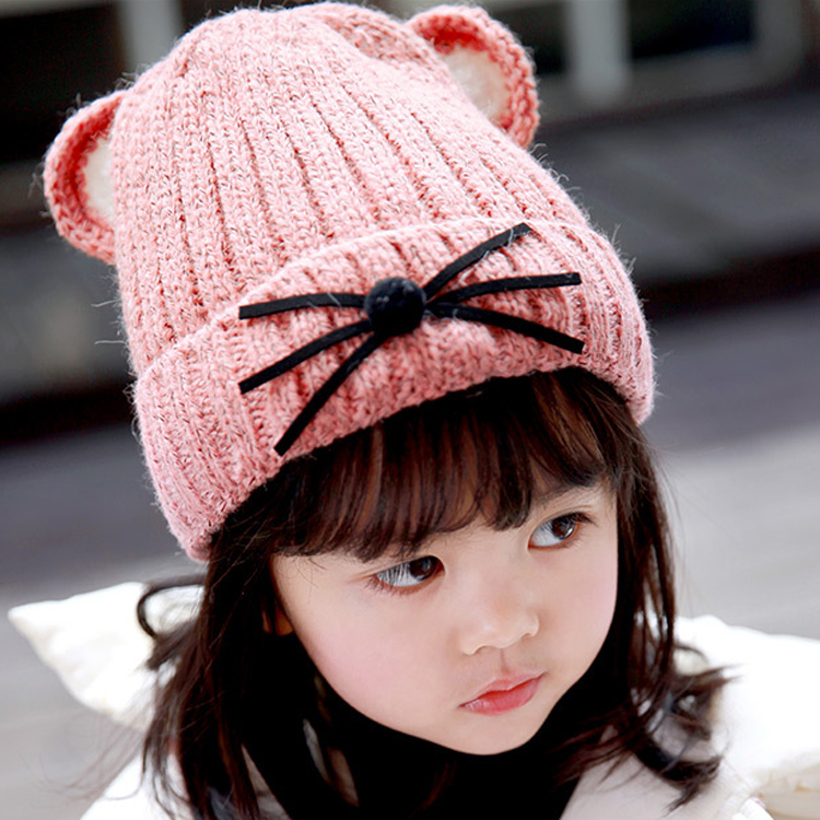 New winter warm children wool beanies Lovely ears with cashmere thicker boys and girls knitted hat the new children s cubs hat qiu dong with cartoon animals knitting wool cap and pile