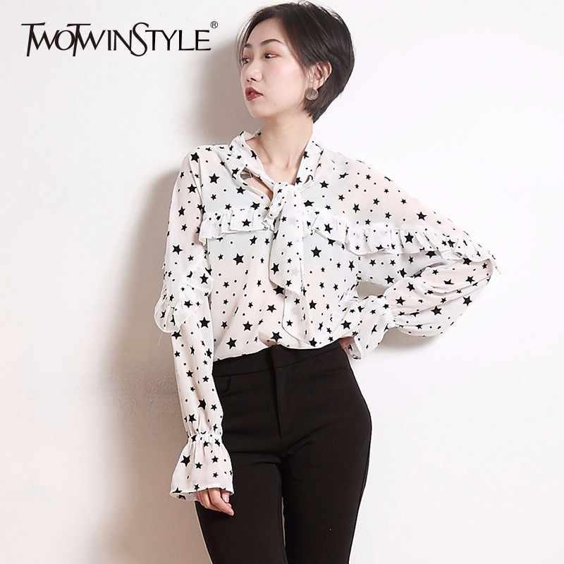 TWOTWINSTYLE الشيفون المطبوعة قميص نسائي الدانتيل يصل الكشكشة متوهج كم بلوزة قمم الإناث 2019 الربيع الصيف مثير الملابس جديد
