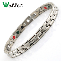 Wollet 6mm Infrared Germanium Tourmaline Magnetic Bracelets for Women Jewerly Stainless Steel Bracelet for Women
