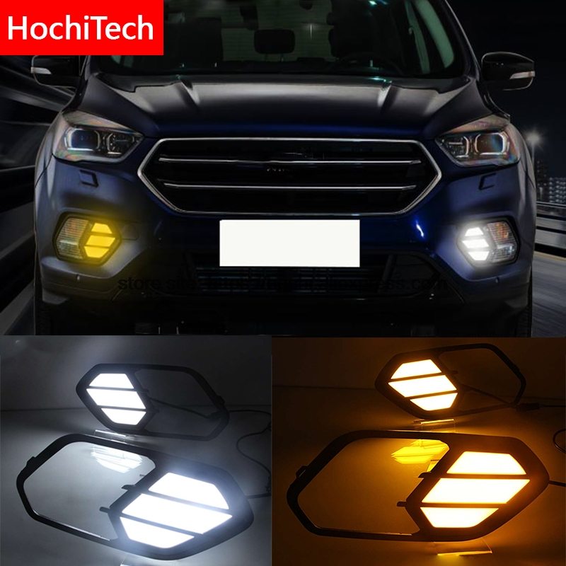 High quality With Yellow Turning Function Waterproof ABS Cover Car DRL LED Daytime Running Light For Ford Kuga Escape 2016 2017 white yellow turning function abs cover 12v car drl led daytime running light daylight lamp for chevrolet cruze 2016 2017 drl