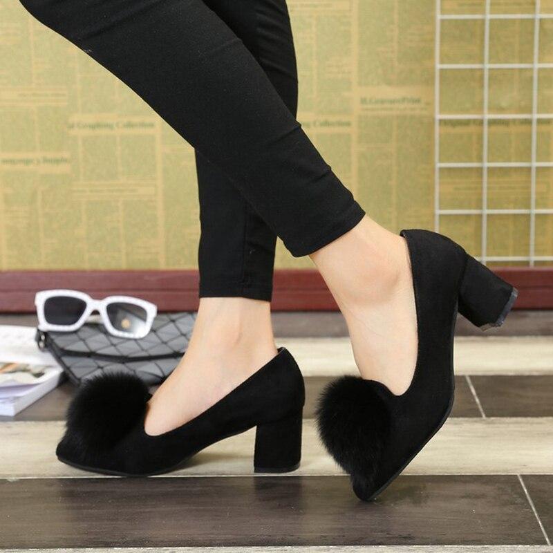 Confortable Renard Plate Peu kaki Boule Fur Mujer Pompes Profonde Hauts Furry Chunky Femmes Talons Slip Chaussures De Réel Mocassins forme Zapatos on Poils Noir pHxRR7qYw