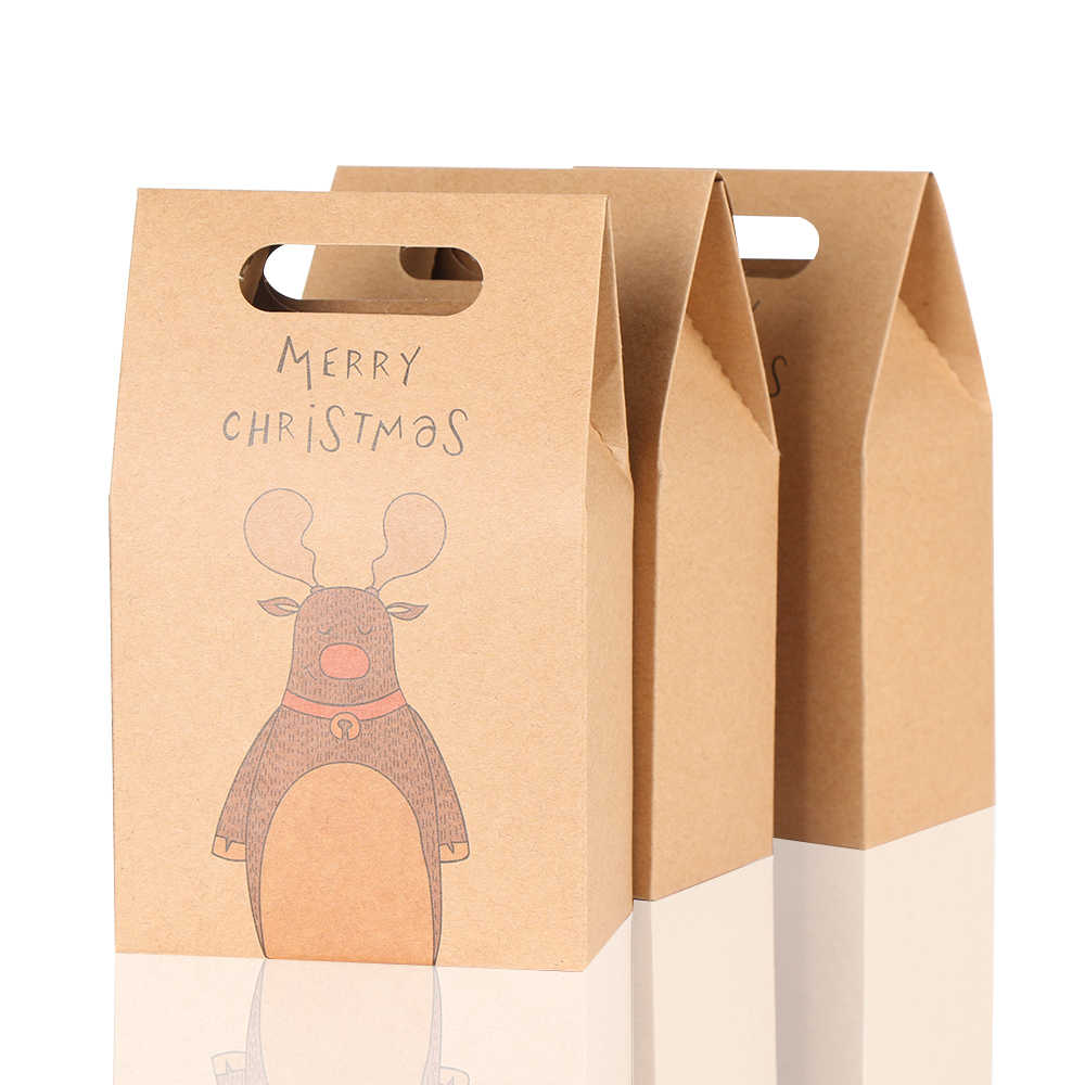1Pcs Kraft Paper Xmas Party Cookies Candy Present Gift Bag Luxury Wedding Bag Christmas Candy Box Christmas Party Accessories