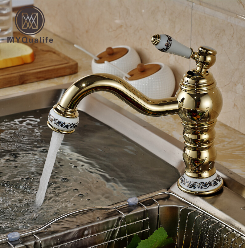 Luxury Ceramic Brass Kitchen Faucet Deck Mount Single Handle Bathroom Kitchen Wash Tap with Hot Cold Water polished chrome deck mounted bathroom kitchen faucet tap single handle with brass soap dispenser