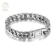Vcool персонализированные Глянцевая Нержавеющая сталь звено цепи Серебряный браслет Для мужчин модный бренд Дизайн Для мужчин S Браслеты мужской ювелирные изделия VB462