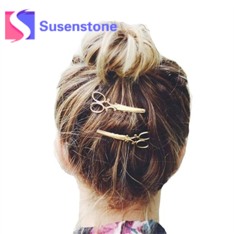 2017 New Design Women Fashion Hairpin Scissors Comb Shaped Hair Clip Hair Barrettes Gold Silver Hair Accessories Gifts for Lady ...