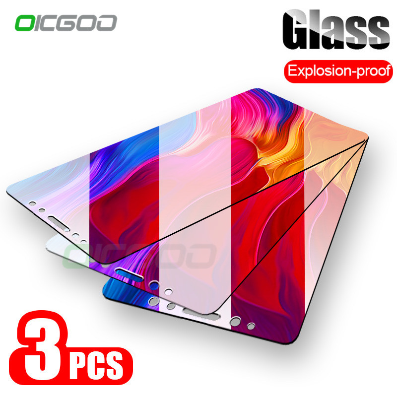 OICGOO 1-3 Pieces 9H Tempered Glass For Xiaomi Mi 8 9 SE lite Screen Protector For Xiaomi Mi 5X A1 A2 Lite 8 9T Protective Glass(China)