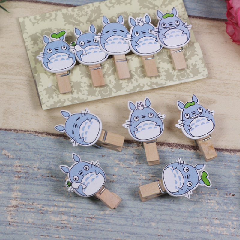 10 Pcs/pack Lovely Cute Wooden Mini Small Clip My Neighbor Totoro Photo Paper Postcard Craft DIY Clips With Hemp Rope Supply