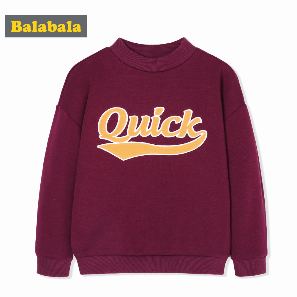 10778183ba Balabala Children Clothing Boy Plus Velvet Sweater Autumn Winter Child  Loose Pullover Letters Soft Warm Boys