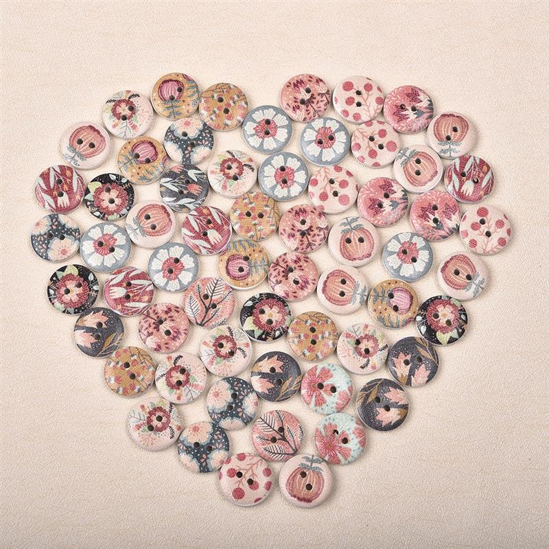 50Pcs New Flower Printed Round Wooden Button 2 Holes 15mm Mixed Wood Buttons Sewing Accessories For Clothing Decoration DIY in Buttons from Home Garden