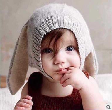 Infant Knitted Baby Hat Cute Rabbit Long Ear Hat 2018 Autumn Winter Toddler Baby Bunny Beanie Cap Photo Props BH145