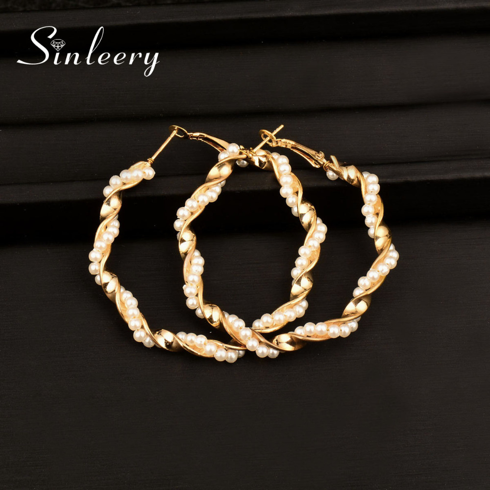 Sinleery Fashion Big Twisted 50mm Hoop Earrings Women Gold & Silver Color  Simulated Pearl Earrings Wedding Party Jewelry Es353