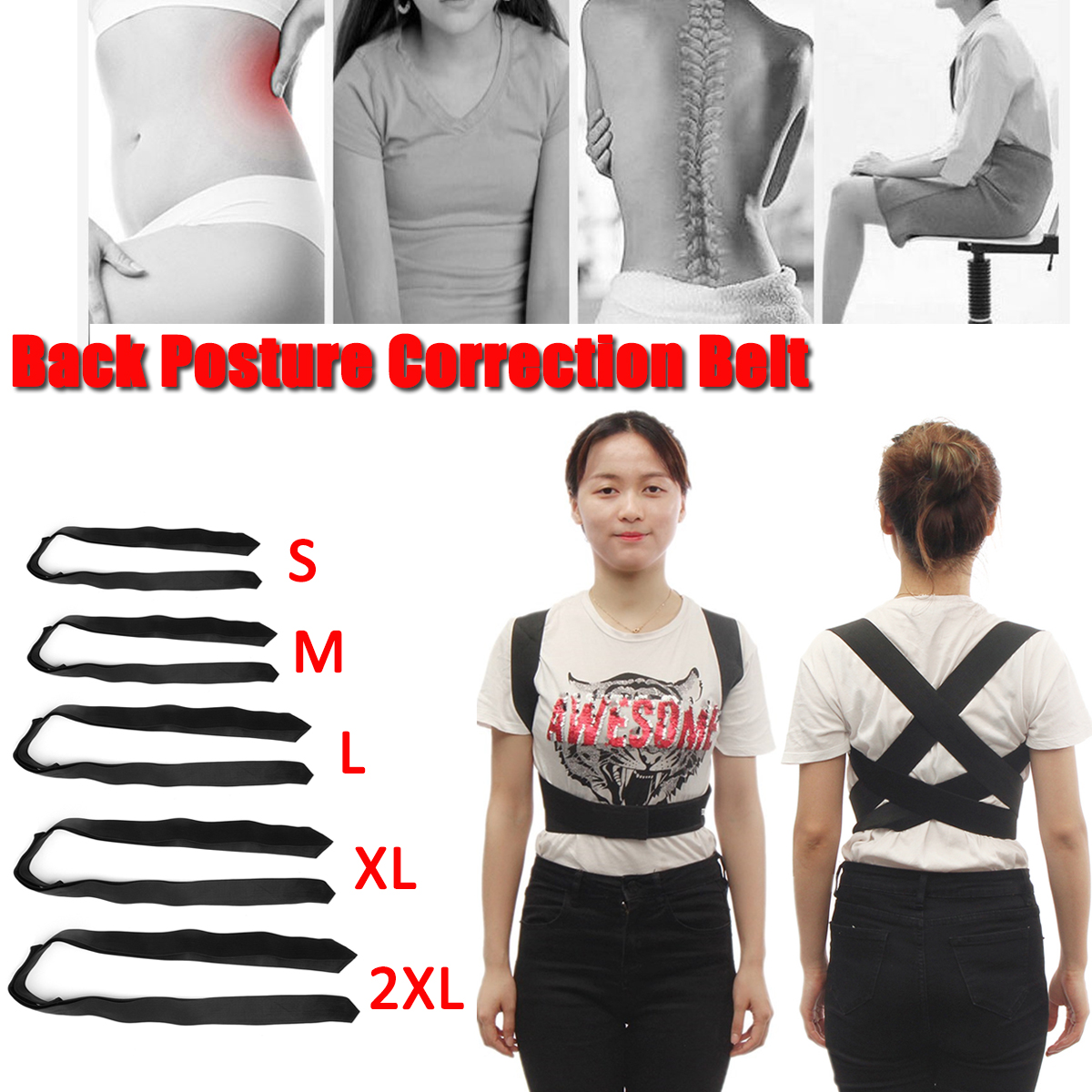Adults Youth Back Posture Correction Belt Support Sport Corrector Brace Belt Shoulder Spine Supports Health Corrective Men Women