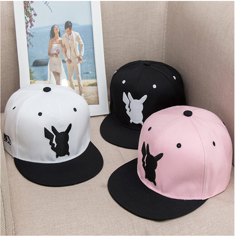 free shipping Pokemon Pikachu embroidery cartoon lovers fashion leisure hip-hop cap 4 colors