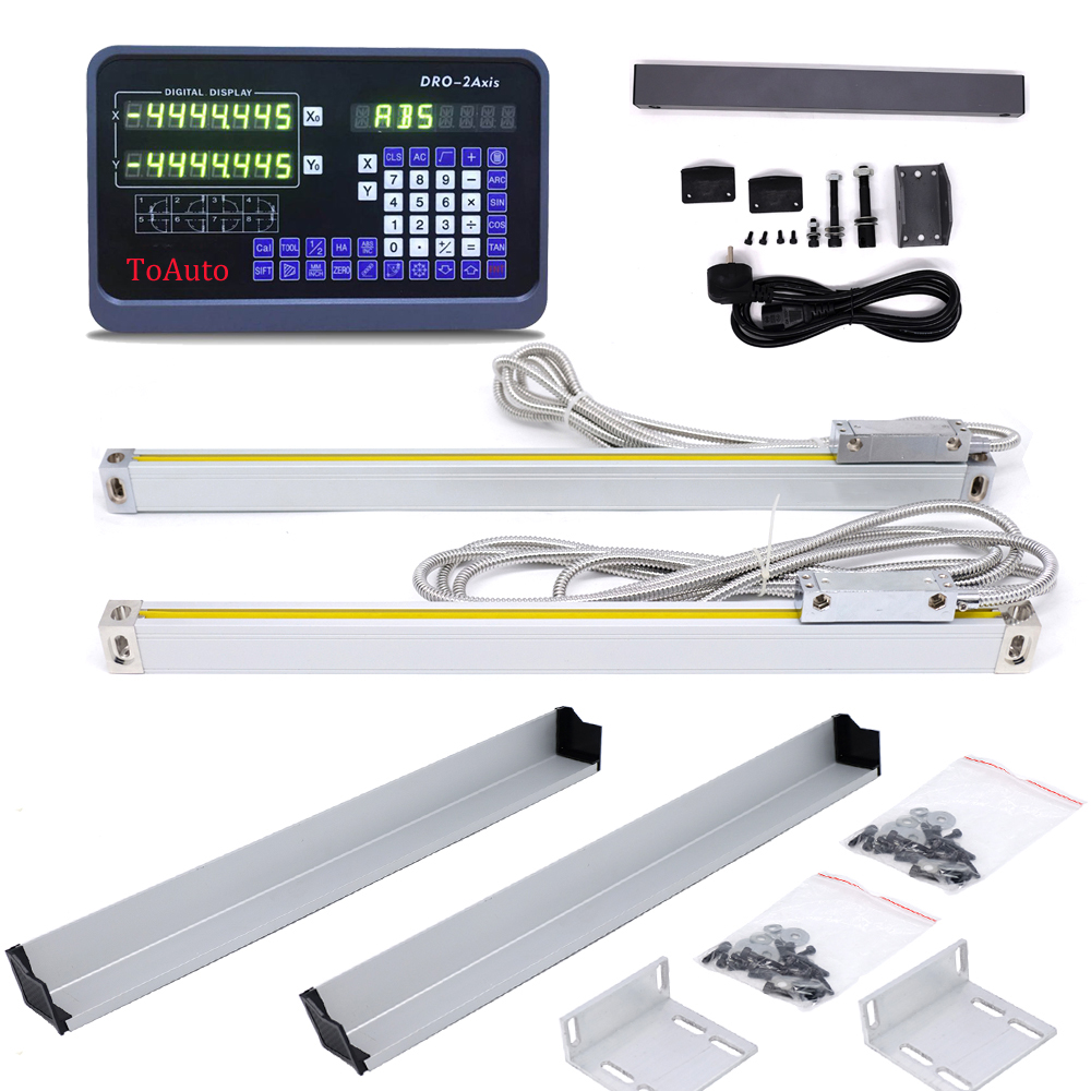 DRO 2 Axis digital readout +2pcs 50-1000mm linear scale linear encoder linear ruler for Drill/EDM/Milling/Grinding/Lathe Machine