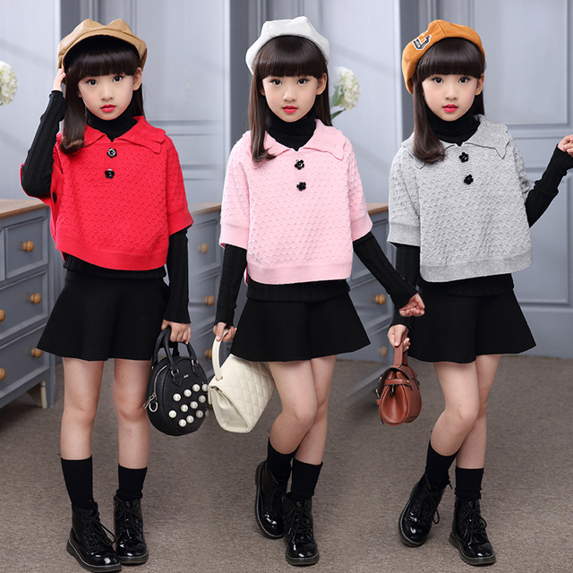 2016 Knitted Girls Wool Pashmina Children Cardigan Sweater Gray Pink Red Girl Cappa Tippet Amice Wrap Clothing For Teens Child