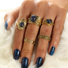 OLOEY Vintage 5pcs/lot Womens Rings Bohemian Female Alloy Finger Ring Casual Beach Party Ladies Jewelry Accessories Gifts