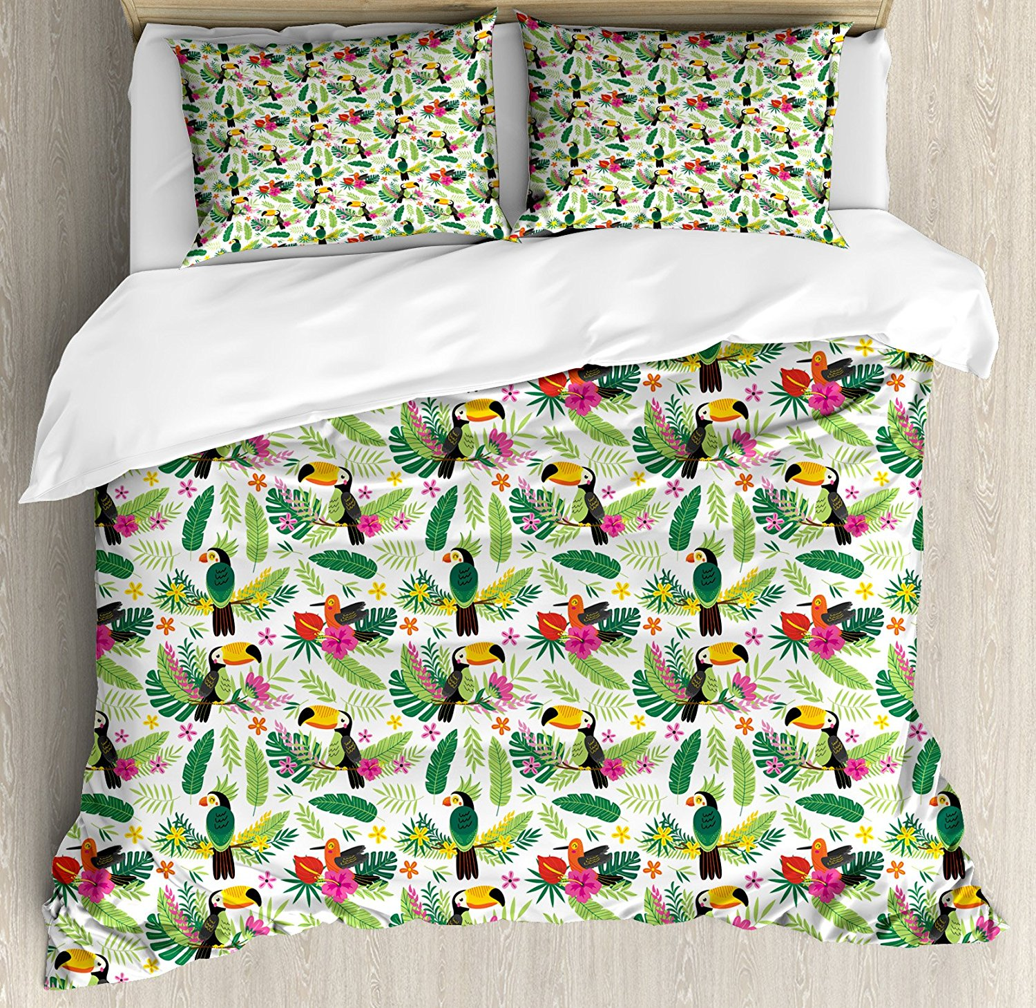 Duvet Cover Set, Tropical Island Jungle with Flora and Fauna Birds Toucan with Green Leaves Flowers, 4 Piece Bedding Set