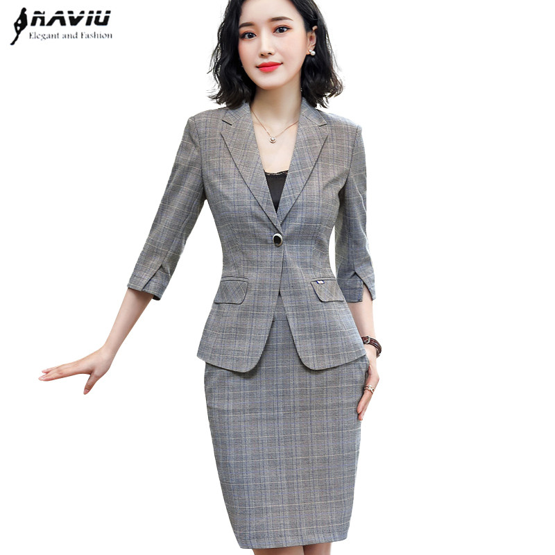 Gray plaid skirt suits womrn 2019 New fashion temperament Half sleeve blazer and skirt office ladies plus size formal work wear-in Skirt Suits from Women's Clothing    1