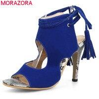 MORAZORA Plus size 34-46 2017 donne dei tacchi Alti sandali flock solid colore lace up open toe sexy di estate delle signore del partito scarpe da sposa