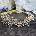 Envío Libre Naturaleza Inspirado Oro Vendas de La Boda de Novia de Halo Rhinestone Hairbands Pelo de La Boda Viñedos