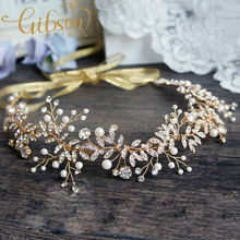 Free Shipping Nature Inspired Gold Wedding Headbands Bridal Halo Rhinestone Hairbands Wedding Hair Vines