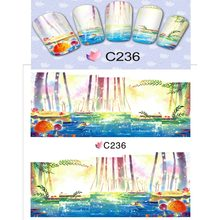 NAIL ART BEAUTY WATER DECAL SLIDER NAIL STICKER COLORFUL OIL PAINTING BIRD LAKE SHORE TOUCAN AUTUMN TREE C236-243(China)