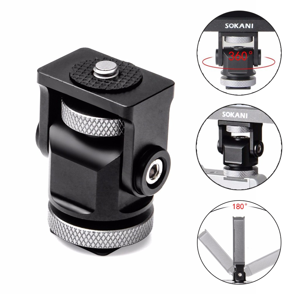 Hot Shoe Adjustable Mount Holder on-Camera Monitor Bracket Stand 1/4'' screw for Video Camera Monitor Fill light Flash(China)