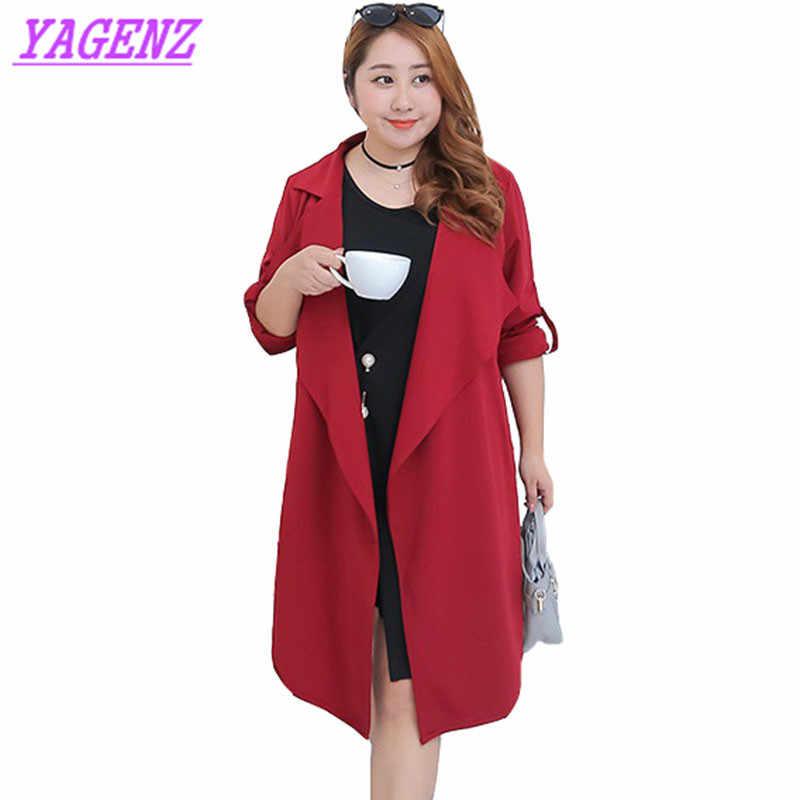 Mujer talla grande rompevientos abrigo primavera otoño suelto fino temperamento señoras moda rojo vino largo Cardigan abrigo B582