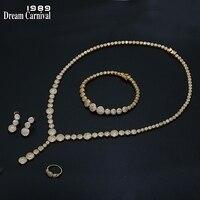 DreamCarnival 1989 НОВЫЙ Deluxe комплект ювелирных изделий для женщин циркония 4 шт. Свадебные Bijoux Саудовская Дубай Лидер продаж Золото Цвет SN04822G