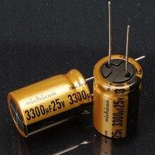 30PCS new original nichicon audio electrolytic capacitor FW 3300Uf/25V free shipping