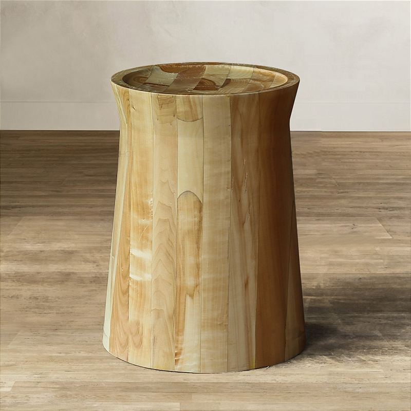 End Table With Varnish Finished Pine Solid Wood Stool