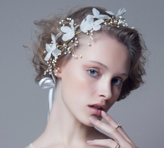 2016 fashion korea style whtie bride romantic handmade hot sale flower beads wedding bridal accessory for ladies