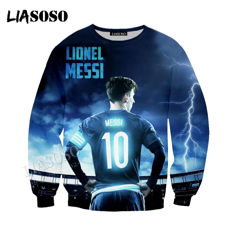 LIASOSO 3D latest print comfortable polyester shirt football star Messi hoodie zipper hoodie men and women sportswear CX216