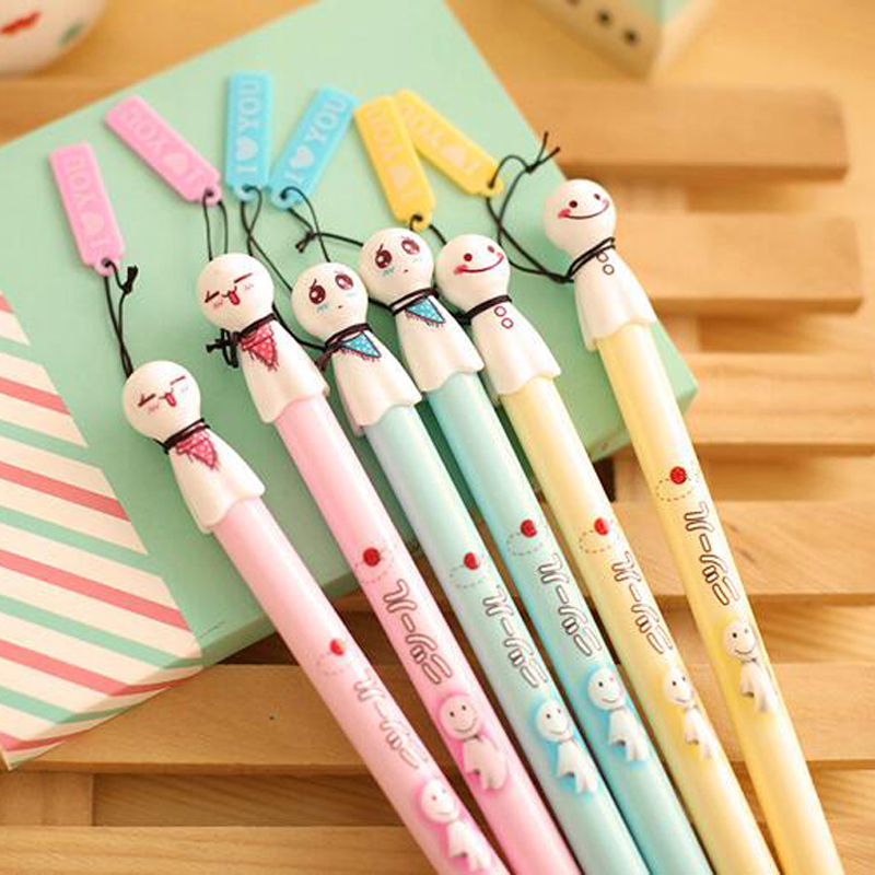 15pcs/Lot Cute Face Expression Gel Pens School Office Supplies Writing Pens High Quality Gel Pens Free Shipping Material Escolar