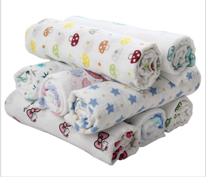 Muslin Cotton Baby Swaddle Bath Towel 110*110cm Newborn Baby Blankets Infant Soft Cotton Wrap Envelope Wrap Receiving Blankets