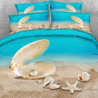 Brand Goldeny 3 Parts Per Set Luxury Beach Theme Sand Shells and Sea 3d digital bed set 3D Bed sheet Set