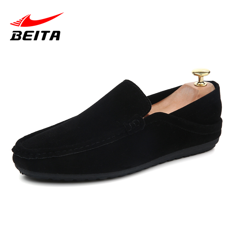 Beita Brand High Quality Flat Platform Casual Boat Shoes Man Slip-On Leather Casual Shoe Men Autumn Shoes Hot Sale Driving Shoes стоимость