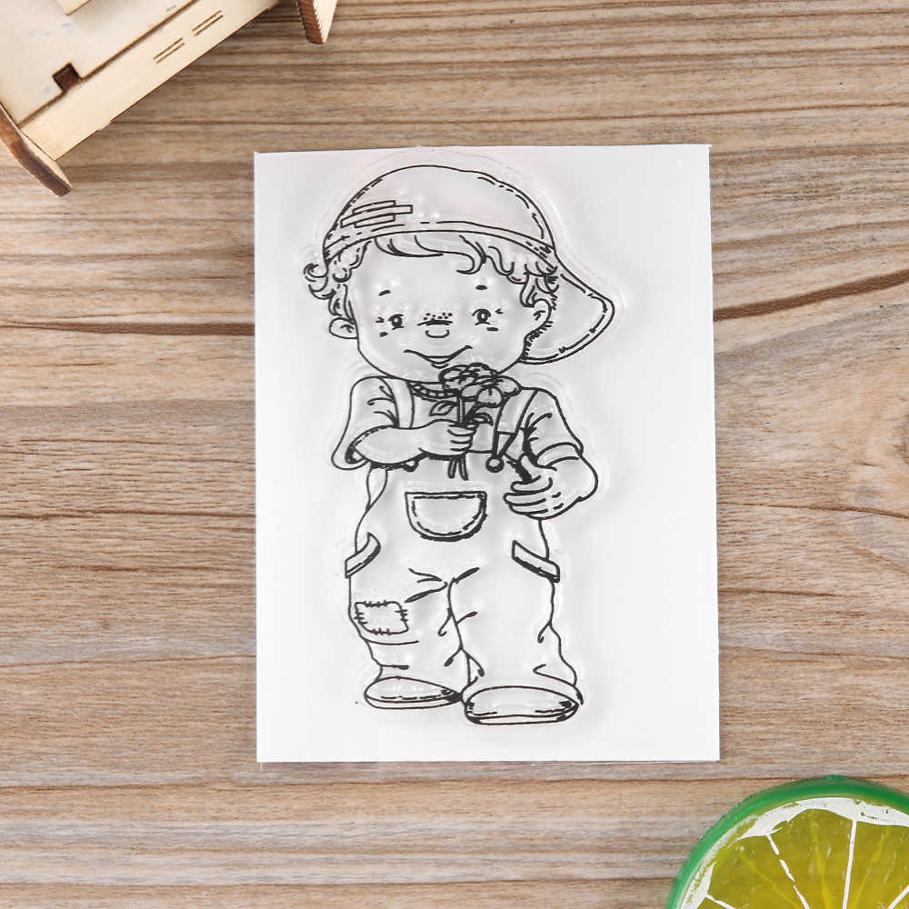 2018 New Little Boys Frame Stamp Dies Clear Rubber Stamp Craft Stamp For Scrapbook DIY Card Making Handmade Tools Gift Decorate