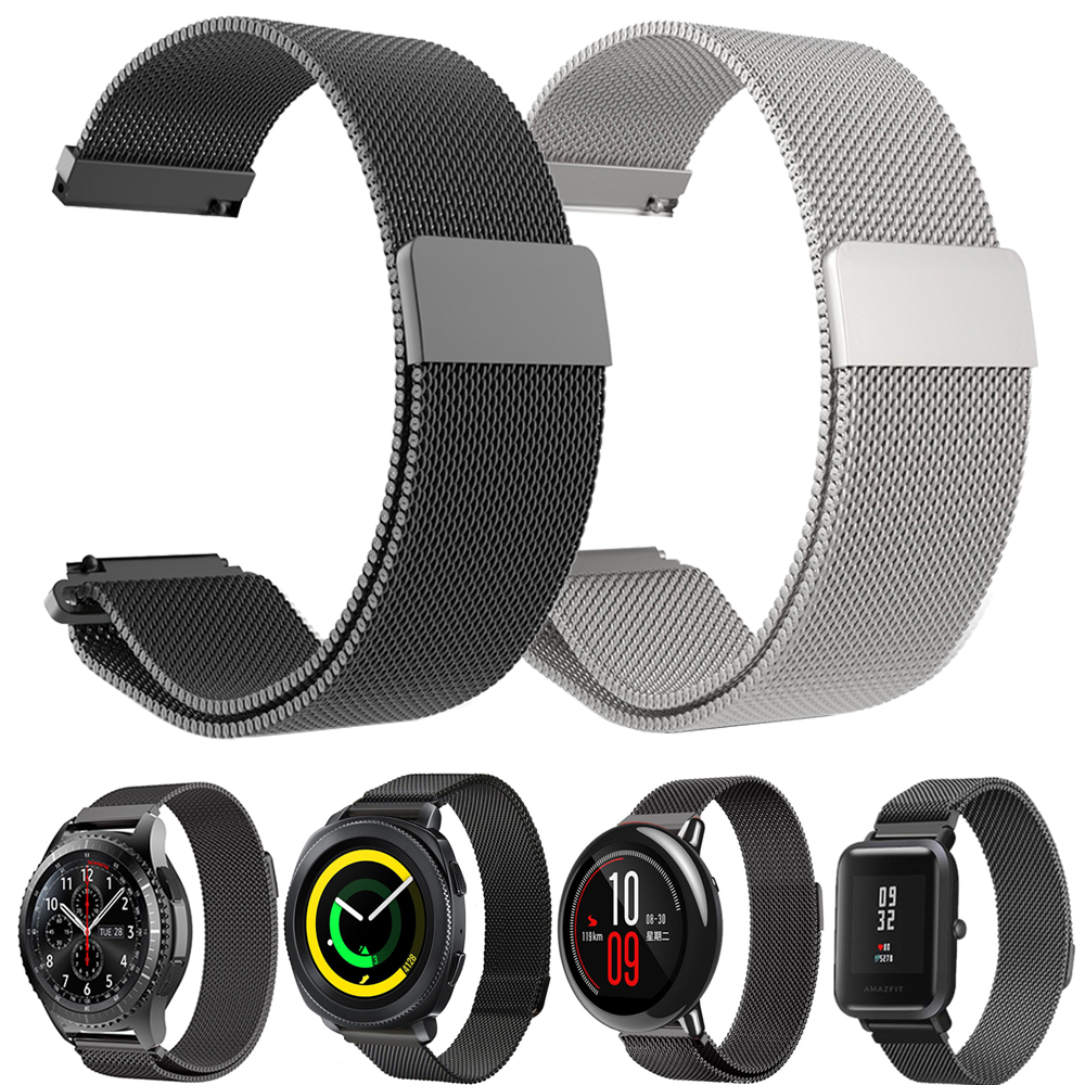 22mm 20mm Milanese Loop Band for Samsung Gear sport S2 S3 s4 Frontier Band for xiaomi huami amazfit bip Pebble 2 наушники samsung galaxy s5 s4 s3 3 2 s4 ace ej 10