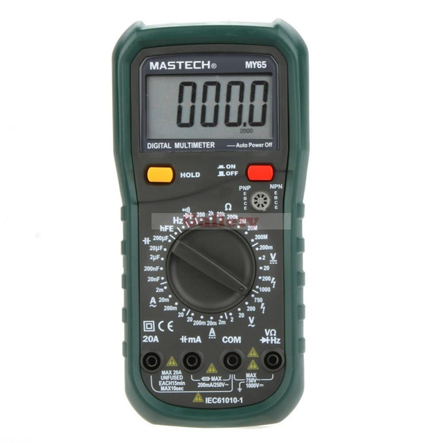 MASTECH MY65 Digital Multimeter DMM AC/DC Voltmeter Ammeter Ohmmeter w/Capacitance Frequency & hFE Tester Professional Meter auto digital multimeter 6000counts backlight ac dc ammeter voltmeter transform ohm frequency capacitance temperature meter xj23
